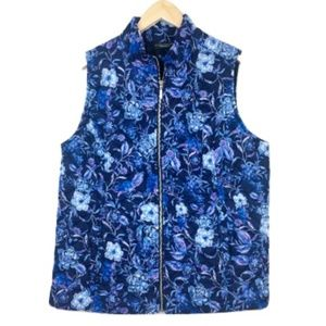 Susan Graver Blue Floral Preppy Winter Vest
